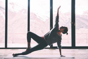 woman doing yoga, stretch, balance