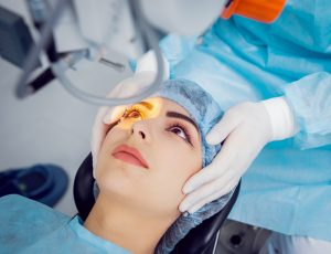 woman being prepped to undergo LASIK eye surgery