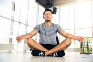 meditating in the gym