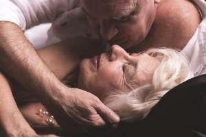 intimate elder couple
